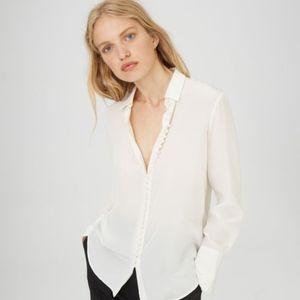 club monaco white covered button blouse